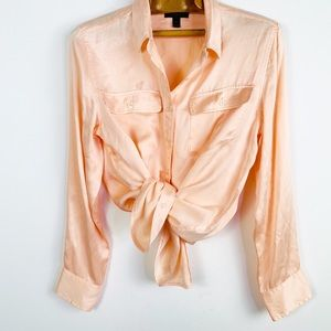 J.crew Blythe 100% silk blush peach collared shirt